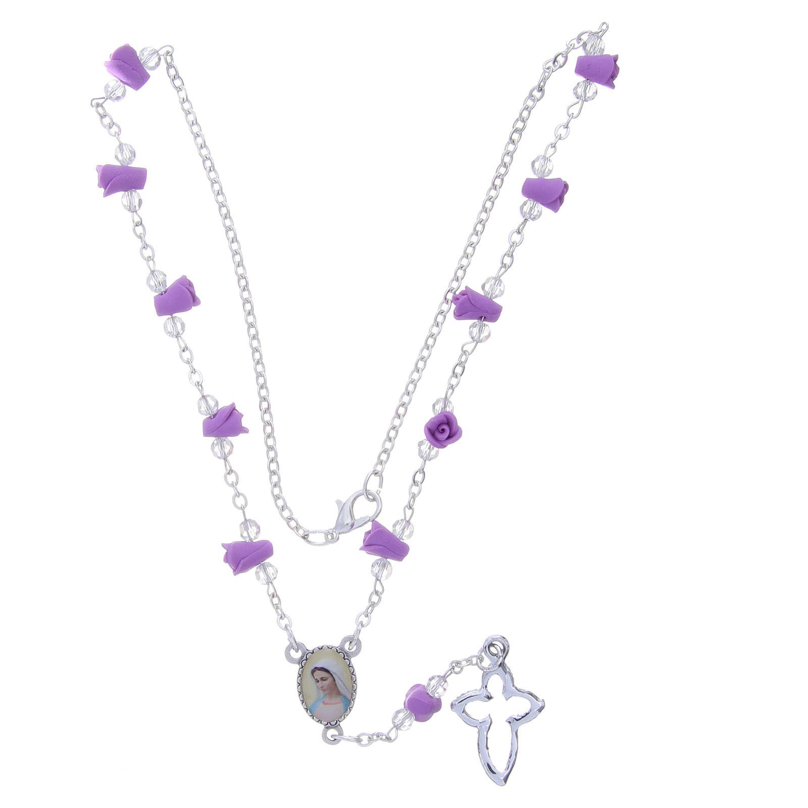 Collana rosario Medjugorje rose color glicine ceramica icona Madonna 4
