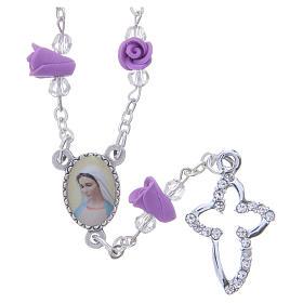 Collana rosario Medjugorje rose color glicine ceramica icona Madonna s1