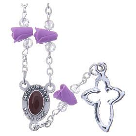 Collana rosario Medjugorje rose color glicine ceramica icona Madonna s2