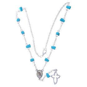 Collar rosario Medjugorje rosas turquesa cerámica icono Virgen María s4