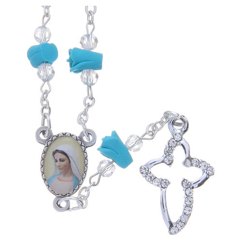 Collar rosario Medjugorje rosas turquesa cerámica icono Virgen María 1