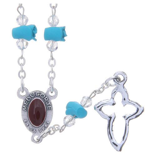 Collar rosario Medjugorje rosas turquesa cerámica icono Virgen María 2