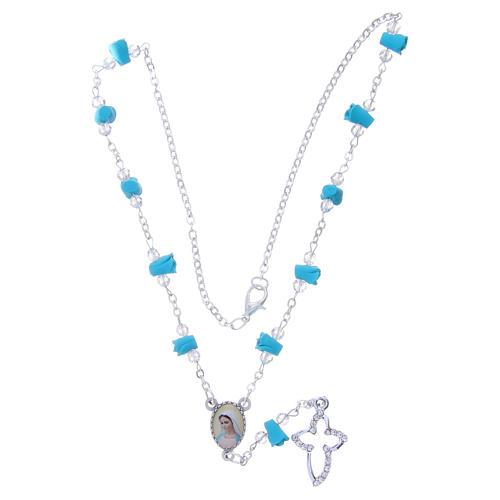 Collar rosario Medjugorje rosas turquesa cerámica icono Virgen María 4