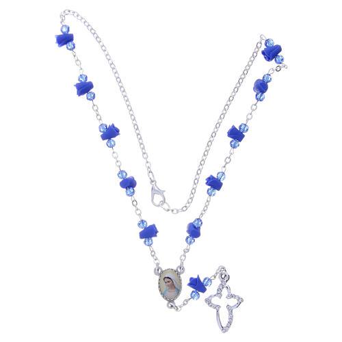 Collar rosario Medjugorje rosas azul cerámica icono Virgen María 4