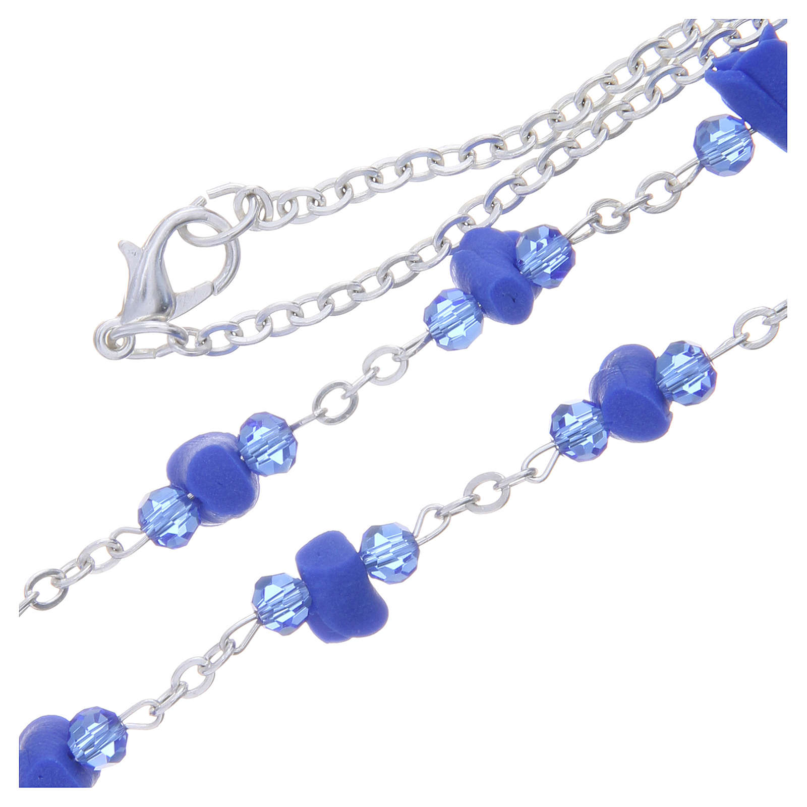 Collier chapelet Medjugorje roses bleues céramique icône Vierge 4