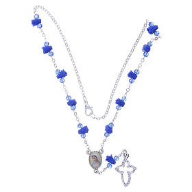 Collier chapelet Medjugorje roses bleues céramique icône Vierge s4