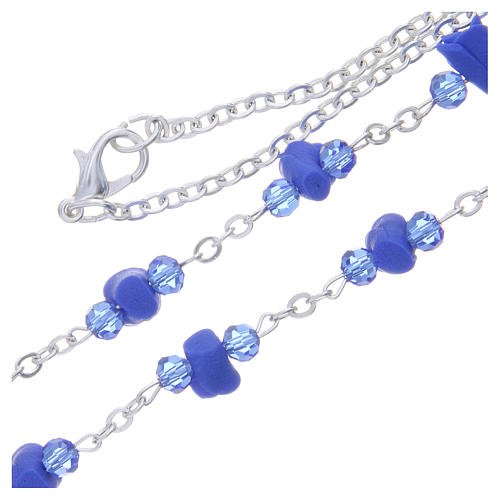 Collier chapelet Medjugorje roses bleues céramique icône Vierge 3
