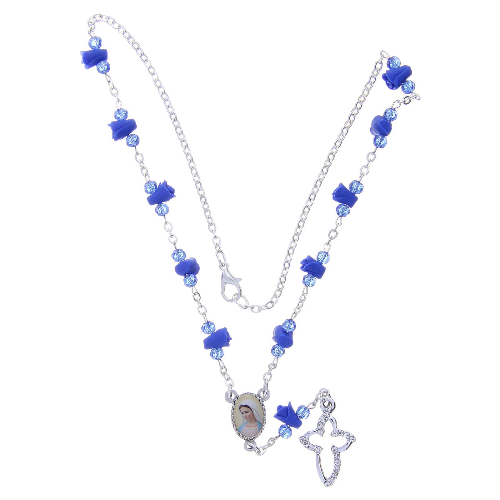 Collana rosario Medjugorje rose blu ceramica icona Madonna 4