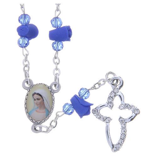Collana rosario Medjugorje rose blu ceramica icona Madonna 1