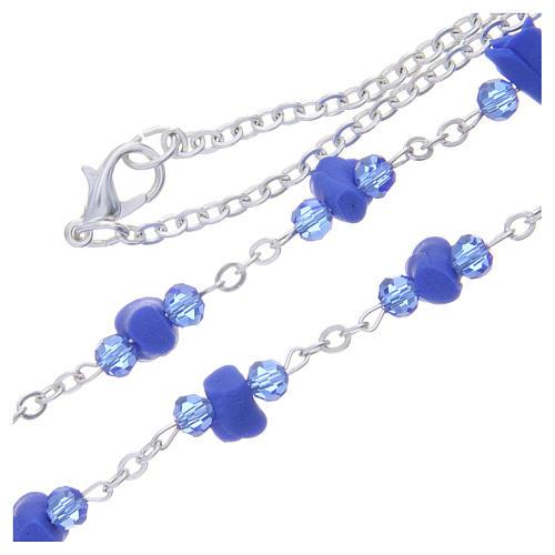 Collana rosario Medjugorje rose blu ceramica icona Madonna 3