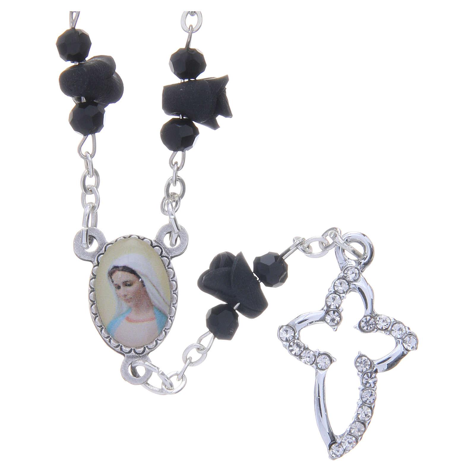 Collar rosario Medjugorje rosas negro cerámica icono Virgen María 4