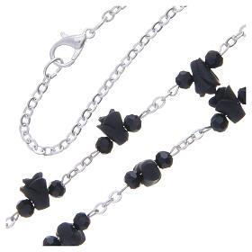 Collar rosario Medjugorje rosas negro cerámica icono Virgen María s3