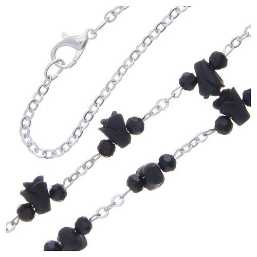 Collar rosario Medjugorje rosas negro cerámica icono Virgen María 3