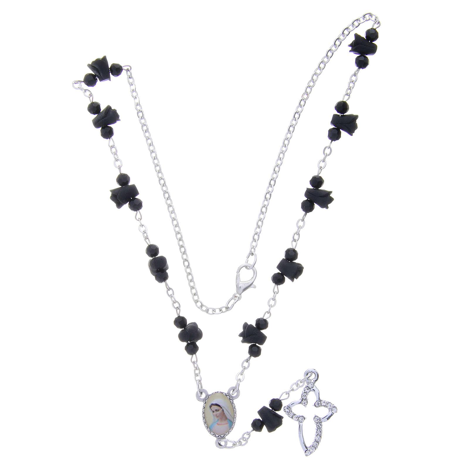 Collier chapelet Medjugorje roses noires céramique icône Vierge 4