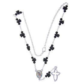 Collier chapelet Medjugorje roses noires céramique icône Vierge s4