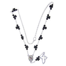 Collana rosario Medjugorje rose nere ceramica icona Madonna s4
