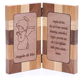 Bas-relief Ange de Dieu trois sortes de bois s1