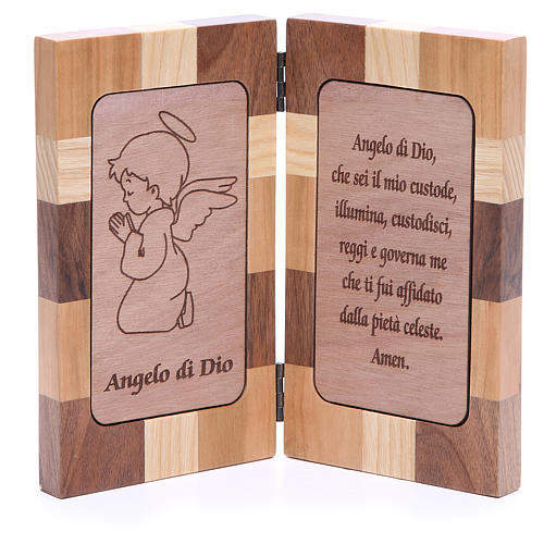 Bas-relief Ange de Dieu trois sortes de bois 1