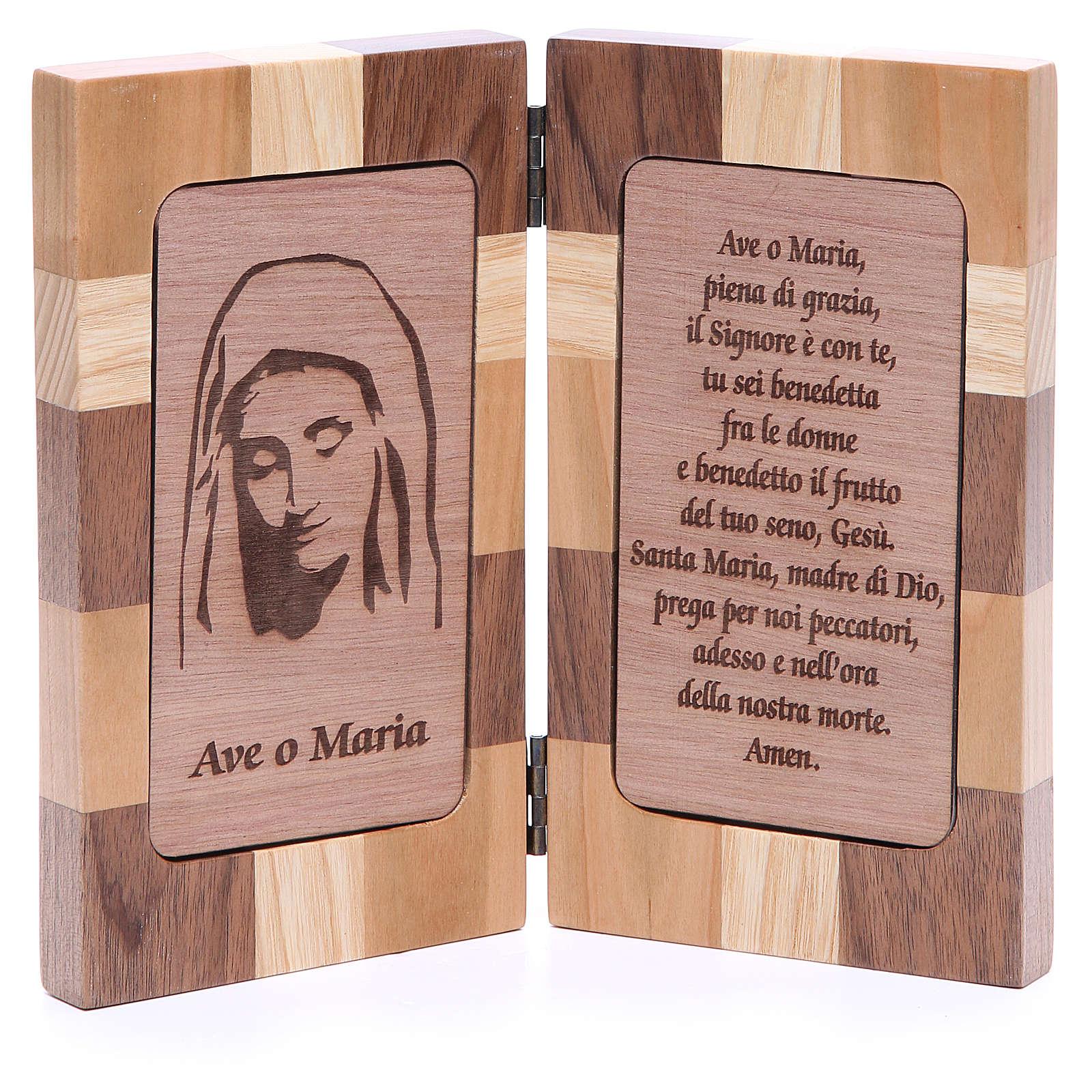 Bas-relief Je Vous salue Marie trois sortes de bois 4