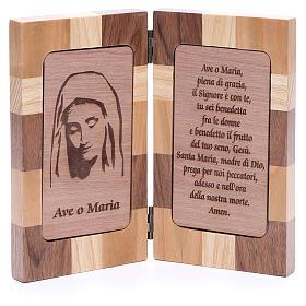 Bas-relief Je Vous salue Marie trois sortes de bois s1