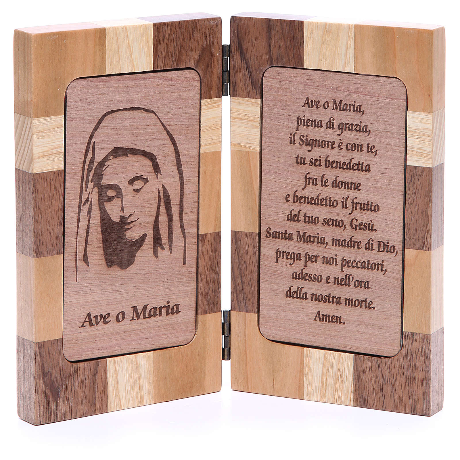 Hail Mary bas-relief with three types of wood 4