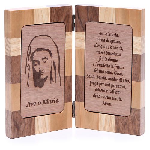 Hail Mary bas-relief with three types of wood 1