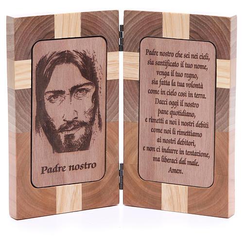 Bas-relief Notre Père trois sortes de bois 1