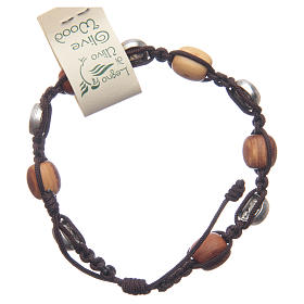 Medjugorje bracelet in olive wood and cord with Miraculous medal s2