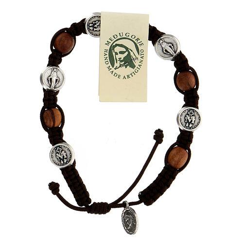 Pulsera Medjugorje madera olivo cuerda Medalla Milagrosa 1