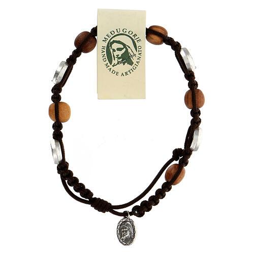Pulsera Medjugorje madera olivo cuerda Medalla Milagrosa 2