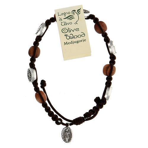 Pulsera Medjugorje madera olivo cuerda Medalla Milagrosa 3
