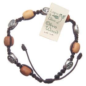 Bransoleta Medziugorie drewno oliwne sznurek Cudowny Medalik s1