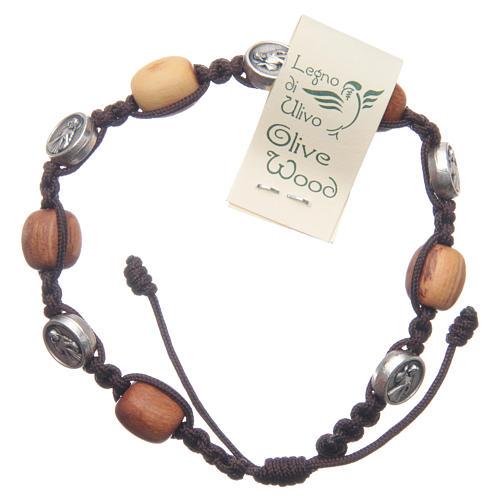 Bransoleta Medziugorie drewno oliwne sznurek Cudowny Medalik 1