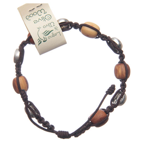 Medjugorje bracelet in olive wood and cord with Miraculous medal 2