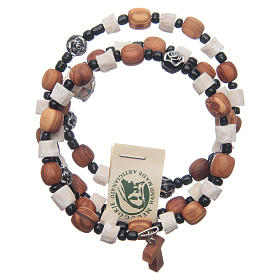 Bracelets, peace chaplets, one-decade rosaries: Medjugorje spring bracelet with stone and olive wood grains