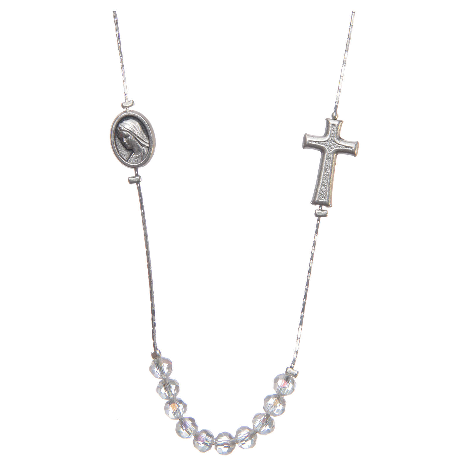 Medjugorje necklace in steel and crystal with clasp 4