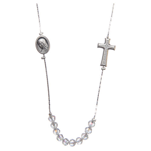 Medjugorje necklace in steel and crystal with clasp 1