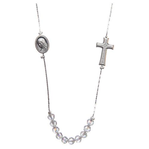 Collar Medjugorje acero cristal cierre 1