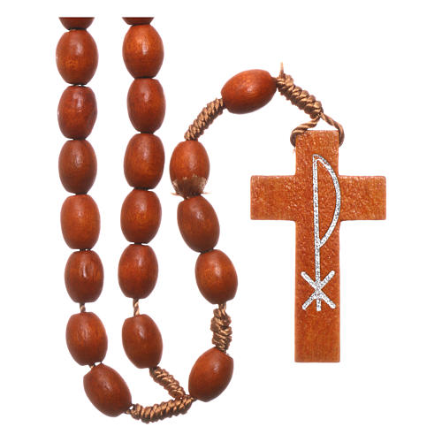 Medjugorje rosary in wood with natural colour grains 1