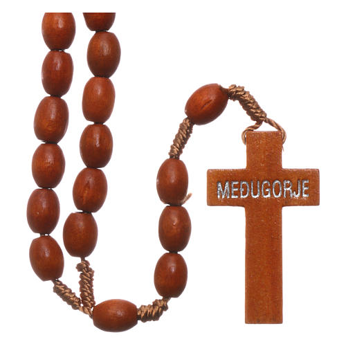 Medjugorje rosary in wood with natural colour grains 2
