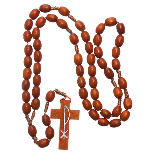 Medjugorje rosary in wood with natural colour grains 4