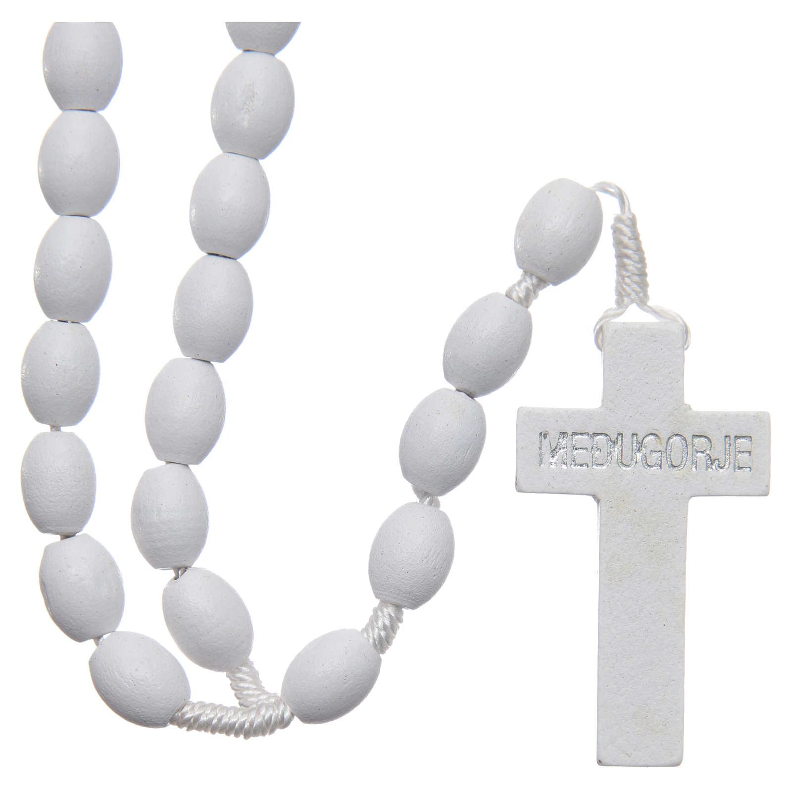 Medjugorje rosary in wood with white grains 4