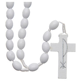 Medjugorje rosary in wood with white grains s1