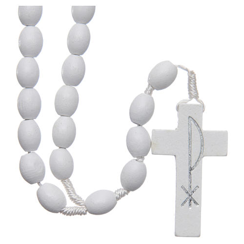 Medjugorje rosary in wood with white grains 1