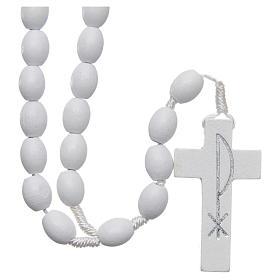 Rosari portarosari Medjugorje: Rosario legno Medjugorje grani bianchi