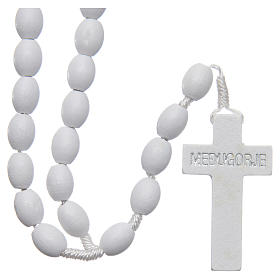 Medjugorje rosary in wood with white grains s2