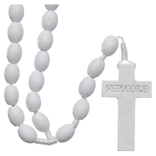 Medjugorje rosary in wood with white grains 2