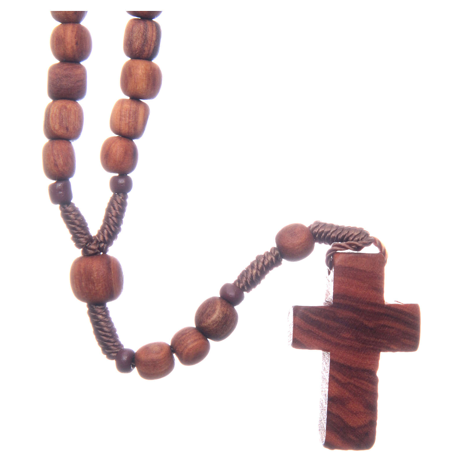 Medjugorje rosary in olive wood with cord 4