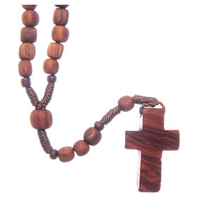 Medjugorje rosary in olive wood with cord s2