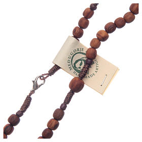 Medjugorje rosary in olive wood with cord s3